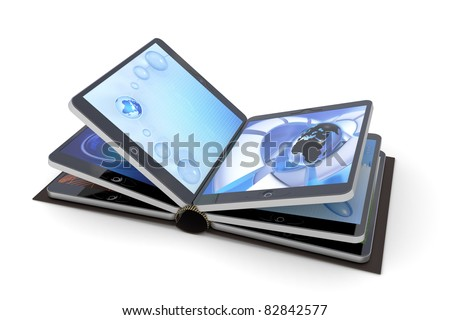 Book from tablet PC - stock photo
