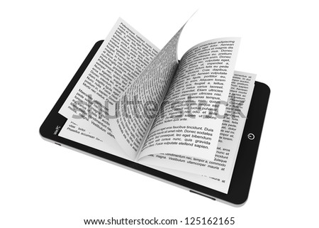 Book from Tablet PC on a white background - stock photo