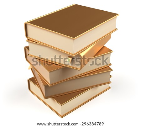Book gold golden stack of books covers yellow blank textbooks bookmark. School studying information content learn question answer icon concept. 3d render isolated on white background - stock photo