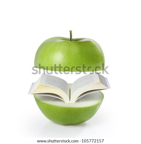 book green on apple on a white background