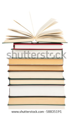 Book heap isolated on white background - stock photo