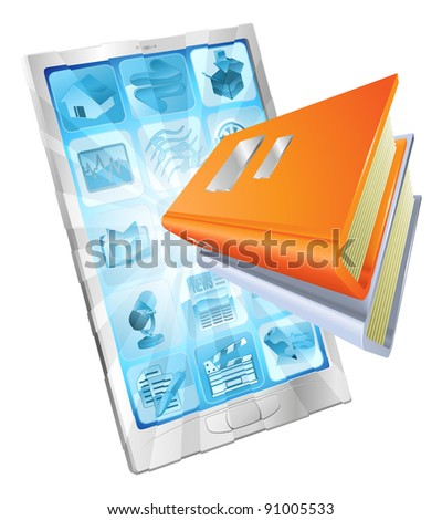 Book icon coming out of phone screen concept for ebooks, reader apps,  online database, e learning. - stock photo