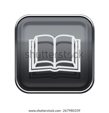 book icon glossy grey, isolated on white background - stock photo