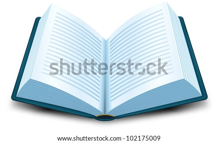 Book Icon/ Illustration of a cartoon opened blue book with lines of text