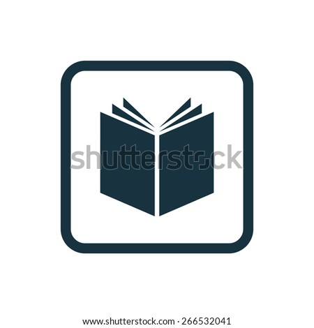 book icon Rounded squares button, on white background