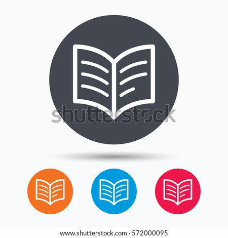 book icon study literature sign education stock vector  study literature sign education textbook symbol colored circle buttons flat