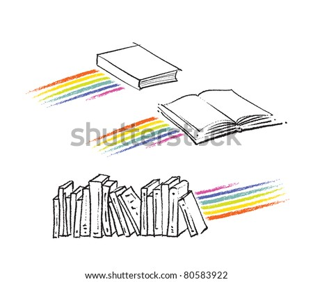 book icons, rainbow motive included (raster version) - stock photo