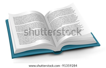 Book/ Illustration of an opened book with flipping pages. No latin text, this is fake text made only using dots! - stock photo