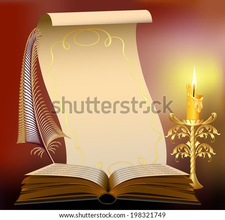 book illustration with burning candle and feather papyrus