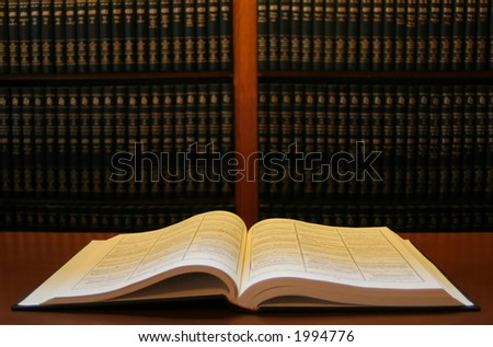 Book in a library - stock photo