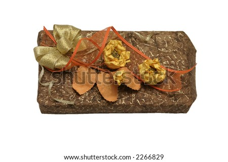 book in gift packing for a holiday isolated over white - stock photo