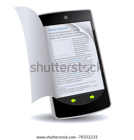 Book in Smart phone App/ Illustration of a realistically flipping e-book on an smartphone imaginary model. Latin text inside - stock photo