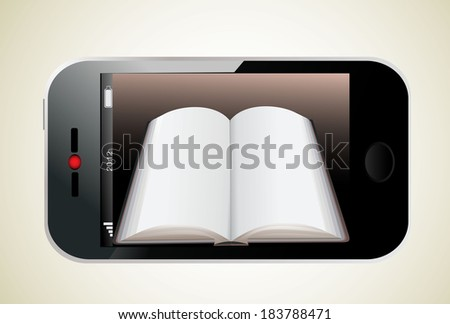 Book in Smartphone. Illustration of a realistically ebook on an smartphone - stock photo