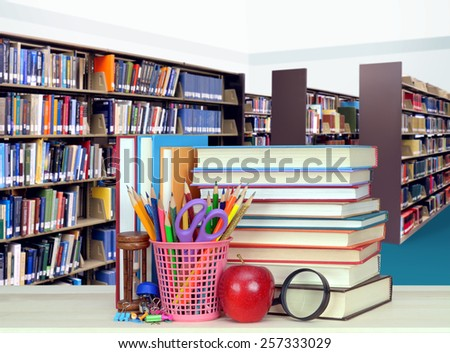 Book in the table at the library for Education concept - stock photo