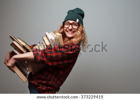 Book lover. Ready to study hard! - stock photo