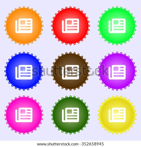 book, newspaper icon sign. A set of nine different colored labels. illustration - stock photo