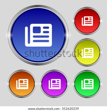 book, newspaper icon sign. Round symbol on bright colourful buttons. illustration - stock photo