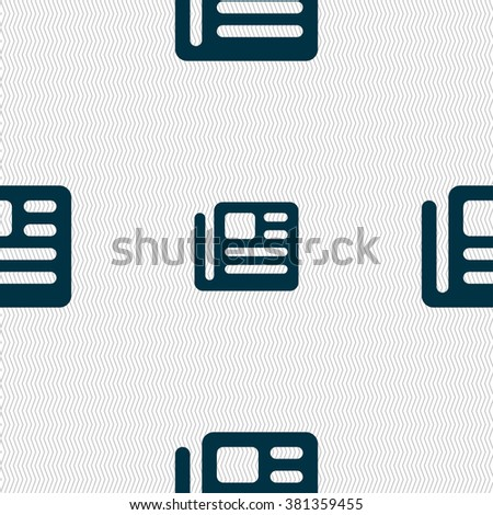 book, newspaper icon sign. Seamless pattern with geometric texture. illustration - stock photo