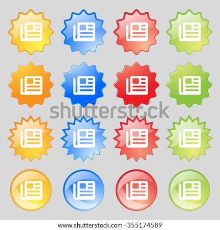 book, newspaper icon sign. Set from fourteen multi-colored glass buttons with place for text. illustration - stock photo