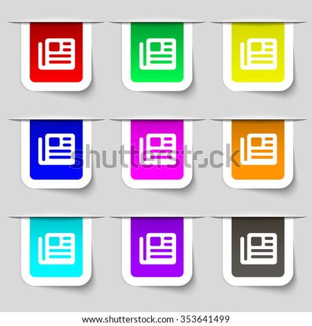 book, newspaper icon sign. Set of multicolored modern labels for your design. illustration - stock photo