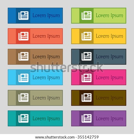 book, newspaper icon sign. Set of twelve rectangular, colorful, beautiful, high-quality buttons for the site. illustration - stock photo