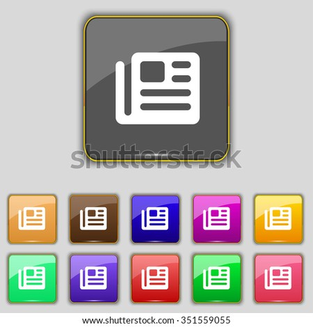 book, newspaper icon sign. Set with eleven colored buttons for your site. illustration - stock photo