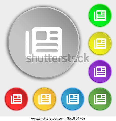 book, newspaper icon sign. Symbol on five flat buttons. illustration - stock photo