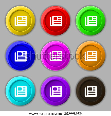 book, newspaper icon sign. symbol on nine round colourful buttons. illustration - stock photo