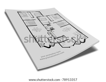 book, note pad, notebook, with drawings of a house - stock photo