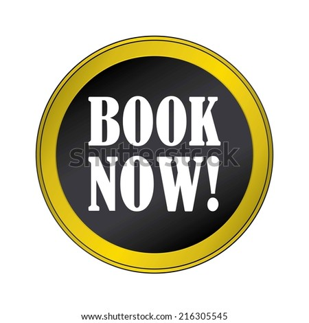 Book Now Black Round Button With Gold Border. - stock photo