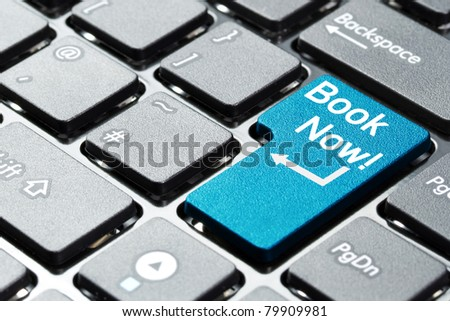 Book now button on keyboard - stock photo