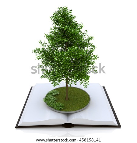 Book of knowledge in the design of access to information relating to the nature and form of education. 3d illustration - stock photo