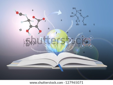 book of knowledge. the concept of the learning sciences. - stock photo