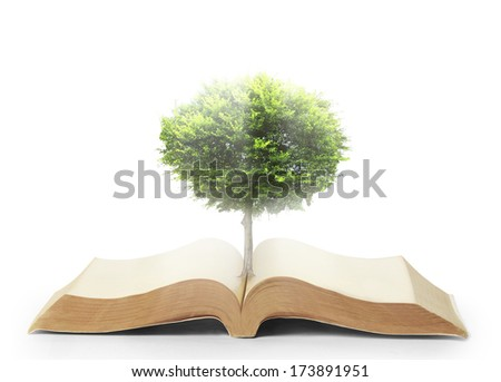book of nature with grass and tree growth - stock photo