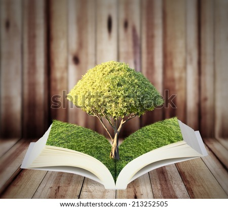 Book of nature with tree isolated  - stock photo