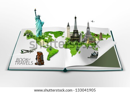 Book of travel - stock photo