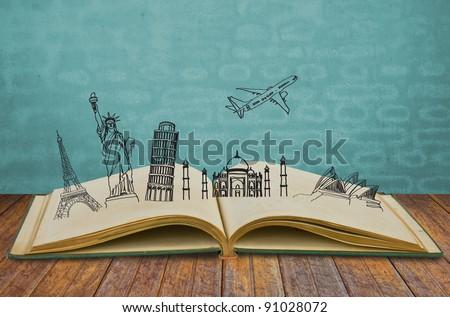 Book of travel (Australia,France,Italy,New York,India,) - stock photo