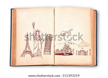 Book of travel (Japan,France,Italy,New York,India,egypt) - stock photo