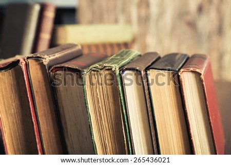 Book. Old books in the Library - stock photo