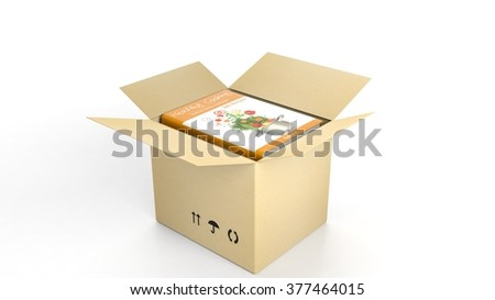 Book on Healthy Cooking with illustrated cover inside an open cardboard box, on white background.
