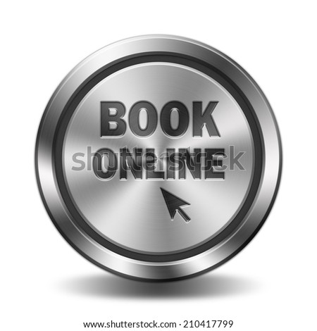 Book online icon. Circular button with glossy metal steel texture.  - stock photo