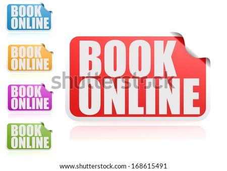 Book online label set - stock photo