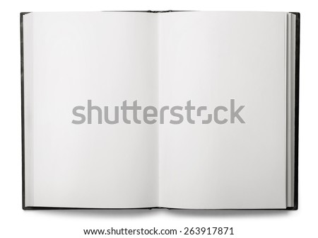 Book. Open blank book isolated on white - stock photo