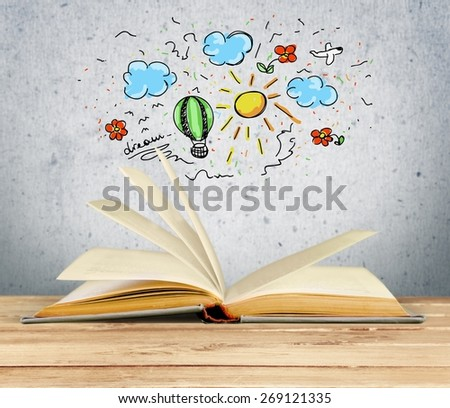 Book, Open, Novel. - stock photo