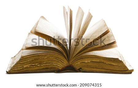 book open old blank pages, yellow paper isolated on white background