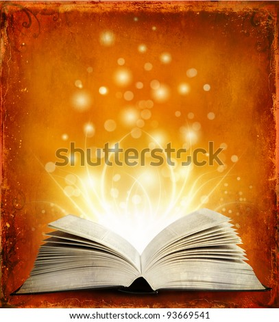 Book. Opened magic book with magic light. Education - stock photo