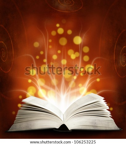 Book. Opened magic book with magic light. Education.red - stock photo