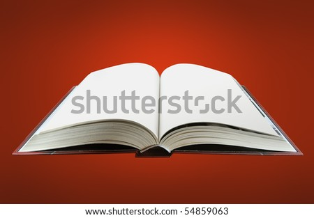 book opened with blank pages isolated on a red background. - stock photo