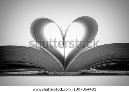 Book Pages In The Shape Of A Heart Black And White Photography