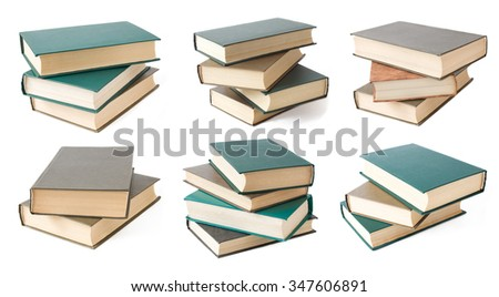 Book pile isolated on white background. Book pile set - stock photo